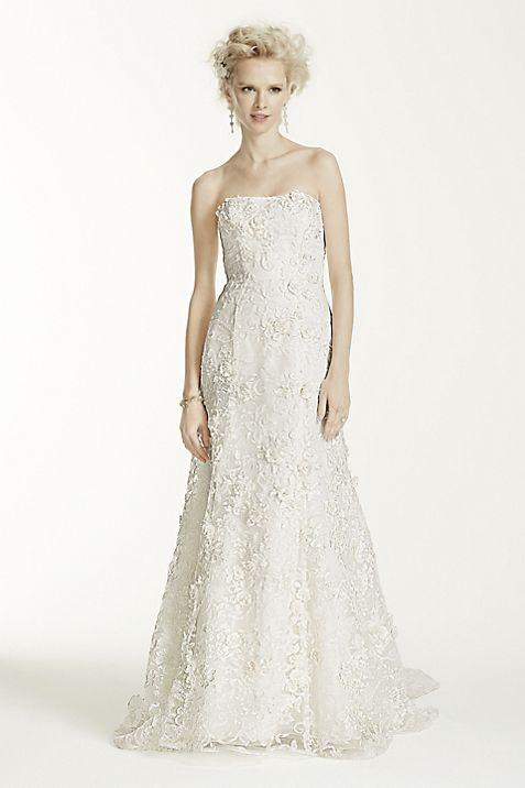 Oleg Cassini Subtle Pink Floral Wedding Dress   David\'s Bridal