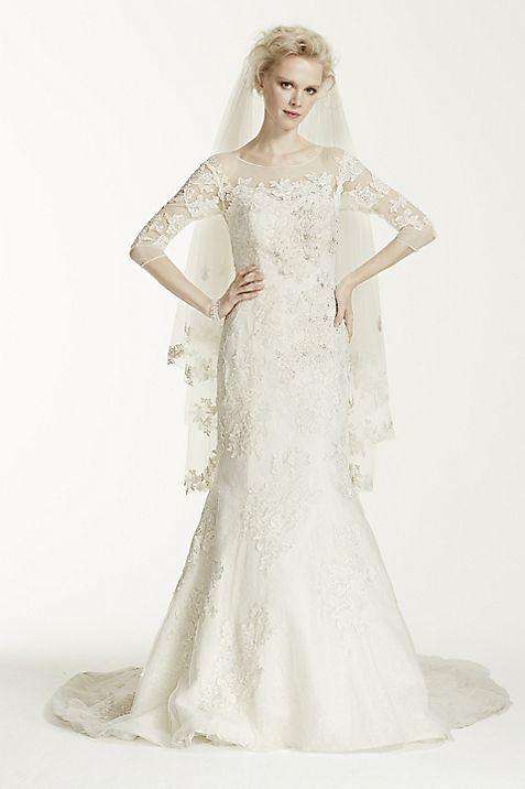 Oleg Cassini Illusion 3/4 Sleeve Wedding Dress   David\'s Bridal