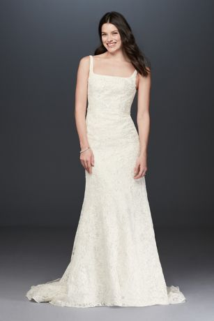 Oleg Cassini Tank Lace Wedding Dress with Beading