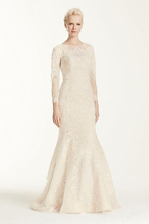 Oleg Cassini Open Back Long Sleeved Wedding Dress | David\'s Bridal