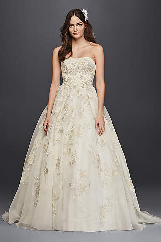 Oleg Cassini Organza Veiled Lace Wedding Dress