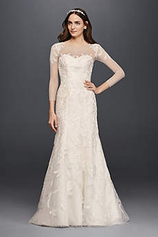 Oleg Cassini Lace Wedding Dress with 3/4 Sleeves
