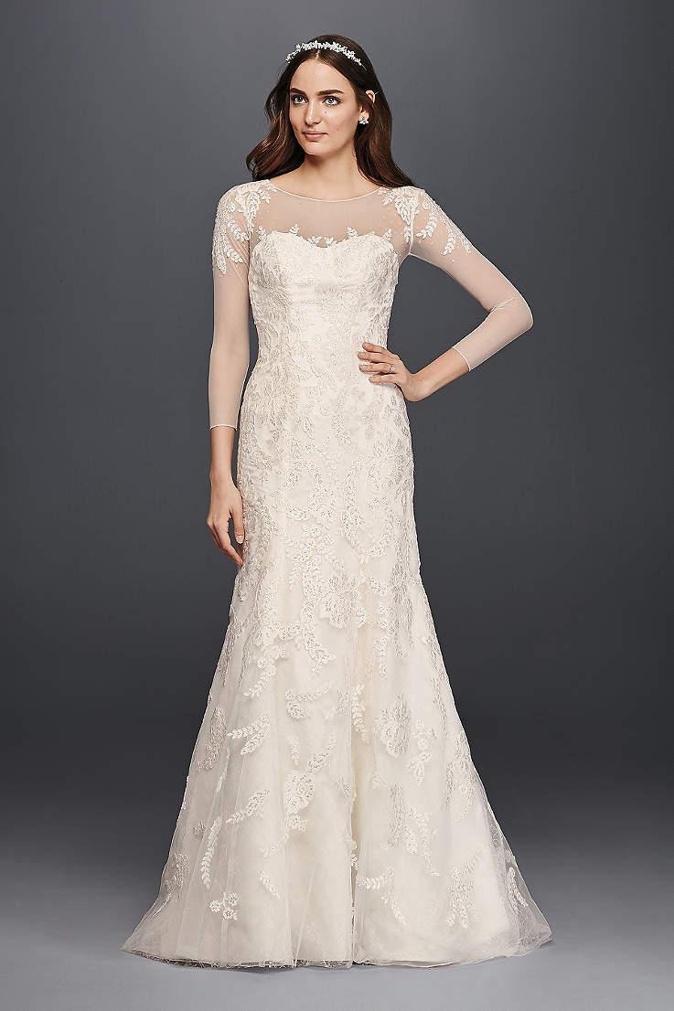 Oleg Cini Lace Wedding Dress With 3 4 Sleeves