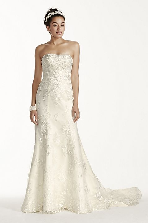 Oleg Cassini Tulle and Lace Trumpet Wedding Dress   David\'s Bridal