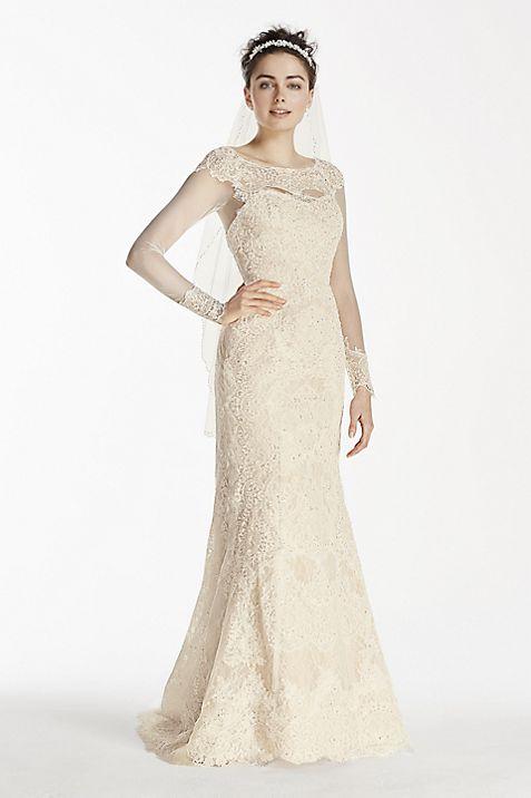 Oleg Cassini Illusion Long Sleeve Wedding Dress | David\'s Bridal