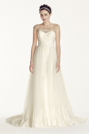 Oleg Cassini Cap Sleeve Tulle A-line Wedding Dress