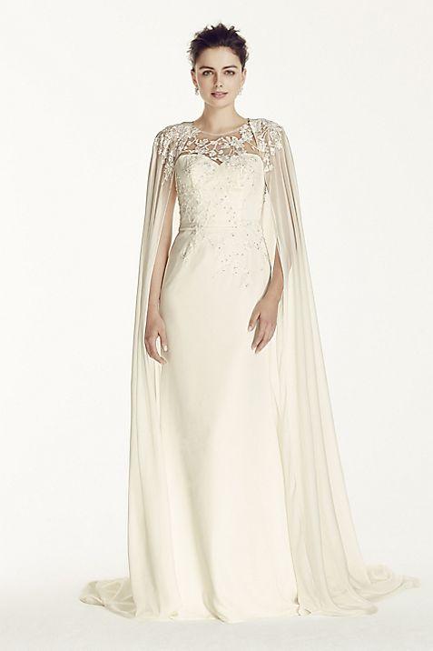 Oleg Cassini Crepe Wedding Dress with Chiffon Cape | David\'s Bridal