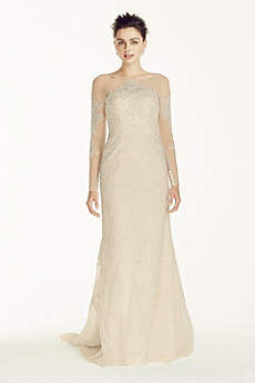 Oleg Cassini Illusion Sleeved Lace Wedding Dress
