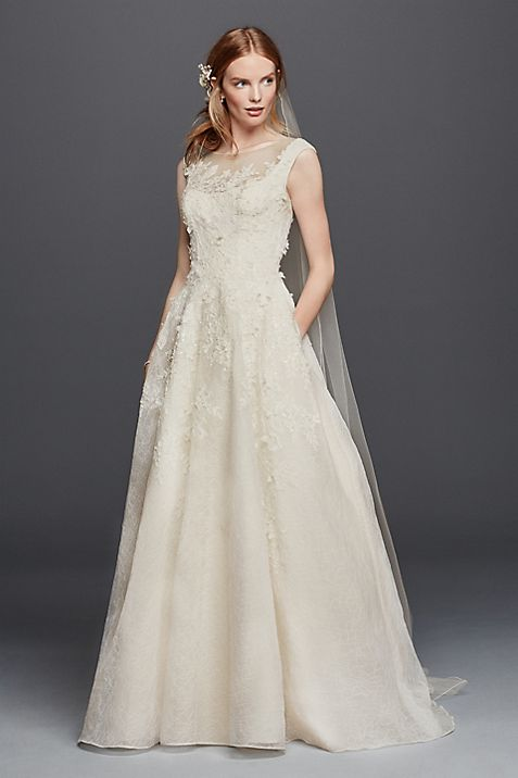 Oleg Cassini Lace Wedding Dress with Pockets | David\'s Bridal