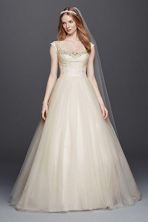 Oleg Cassini Embellished Tulle Wedding Dress | David\'s Bridal