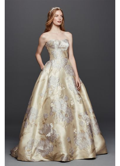 Oleg Cassini Brocade Wedding Dress with Pockets | David\'s Bridal