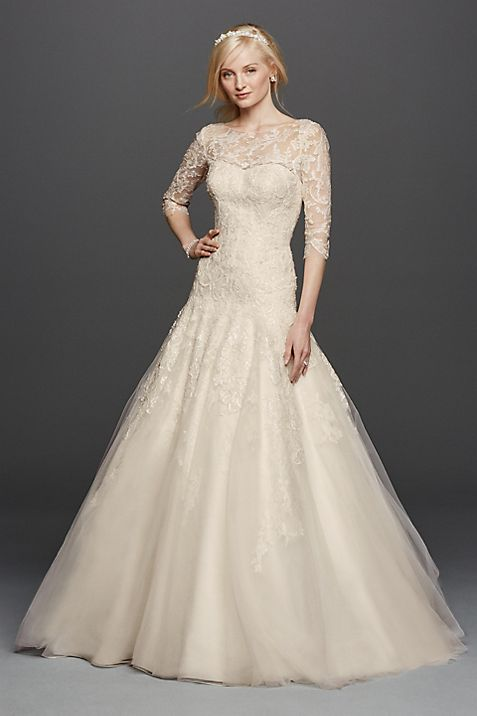 As-Is Oleg Cassini Illusion Lace Wedding Dress | David\'s Bridal
