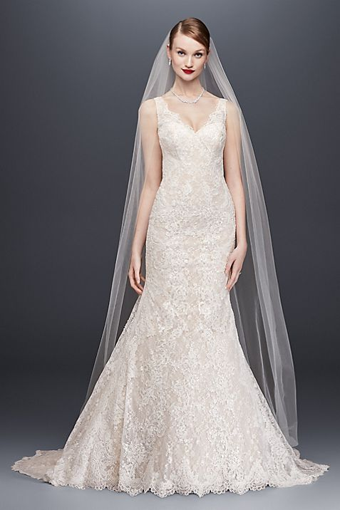 Oleg Cassini Lace Trumpet Wedding Dress | David\'s Bridal