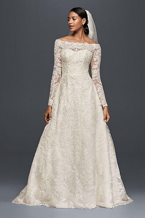 Off-The-Shoulder Lace A-Line Wedding Dress | David\'s Bridal