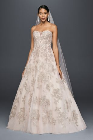 Metallic Lace Applique A-Line Wedding Dress