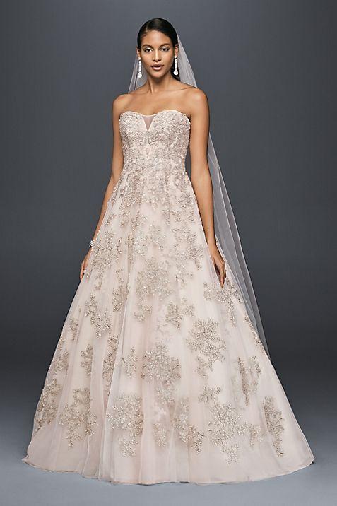 Metallic Lace Applique A-Line Wedding Dress | David\'s Bridal