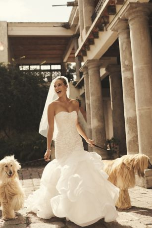 As-Is Scroll Lace Trumpet Wedding Dress