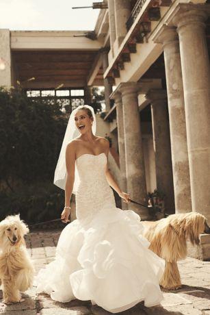 scroll lace trumpet wedding dress davids bridal
