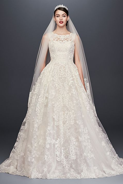 Beaded Lace Wedding Dress with Pleated Skirt | David\'s Bridal