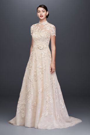 As-Is Lace Appliqued Wedding Dress and Topper