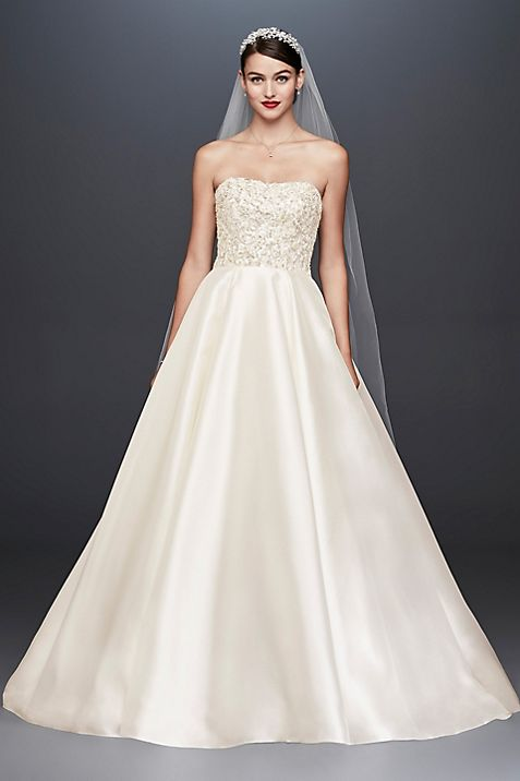 Crystal Encrusted Mikado Ball Gown Wedding Dress | David\'s Bridal