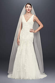 Long Mermaid/ Trumpet Romantic Wedding Dress - Oleg Cassini