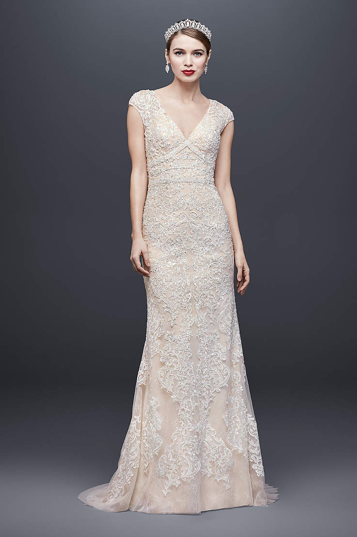 e9fe6268e01 Long Sheath Wedding Dress - Oleg Cassini