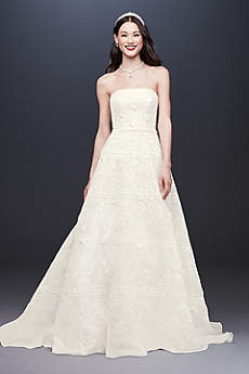 Long A-Line Modern Wedding Dress - Oleg Cassini