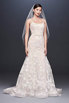 Long Mermaid/ Trumpet Romantic Wedding Dress - Oleg Cassini