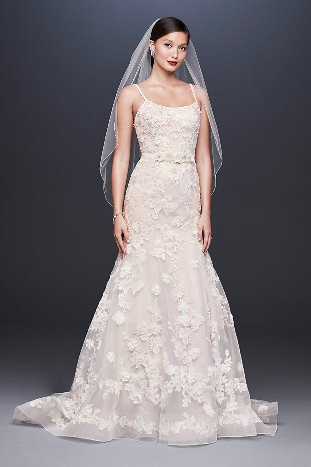 Ballerina Bodice 3D Floral Trumpet Wedding Dress