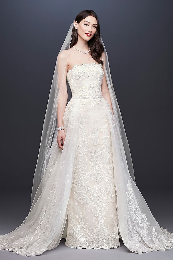 Lace Sheath Wedding Dress with Removable Overskirt CWG816