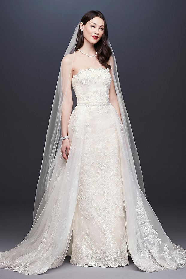 Lace Sheath Wedding Dress with Removable Overskirt