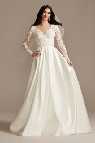 Long A-Line Wedding Dress - Oleg Cassini