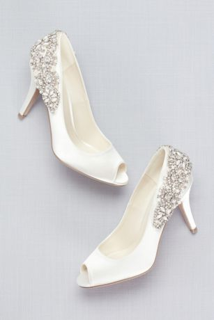Pink Paradox Ivory (Satin Peep-Toe Pumps with Crystal Heel Detail)