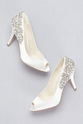 Wedding shoes bridal shoes davids bridal pink paradox ivory satin peep toe pumps with crystal heel detail junglespirit Image collections