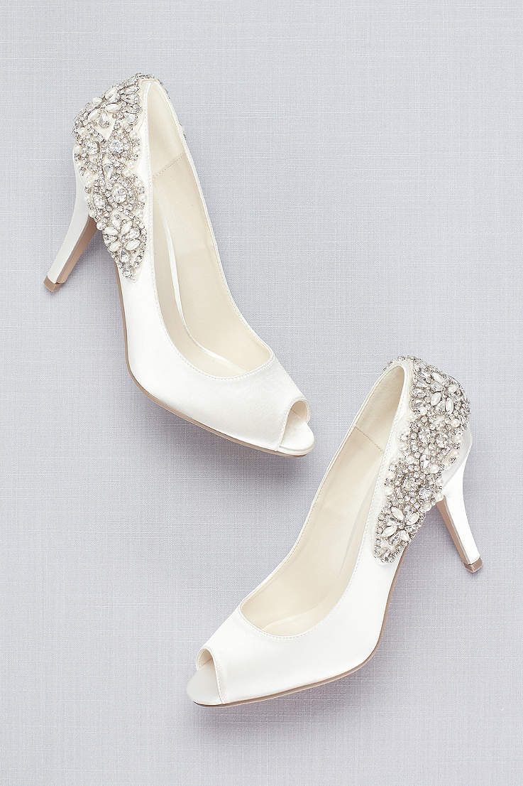 Pink Paradox Ivory Satin P Toe Pumps With Crystal Heel Detail