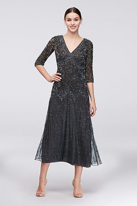 Allover Mixed Beading 3/4-Sleeve Petite Gown | David\'s Bridal