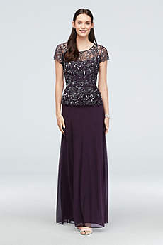 Long A-Line Cap Sleeves Formal Dresses Dress - Pisarro Nights