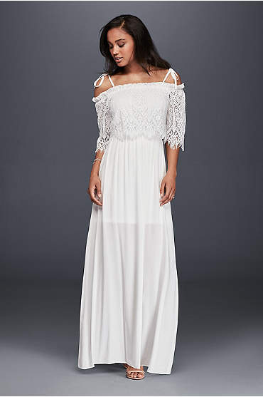Off-The-Shoulder Eyelash Lace Maxi Dress