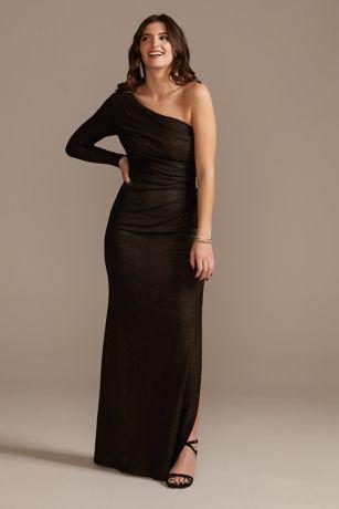 Long One-Shoulder Ruched Glitter Sheath Dress