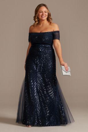 Sequin Off the Shoulder Plus Size Sheath Dress
