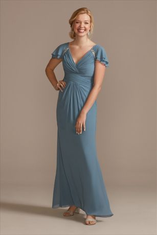 Long A-Line Short Sleeves Dress - Oleg Cassini