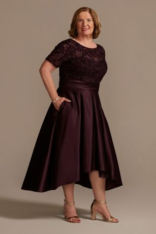 High Low Ballgown Elbow Sleeves Dress - Oleg Cassini