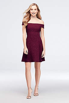 Tea Length A-Line Off the Shoulder Cocktail and Party Dress - Speechless