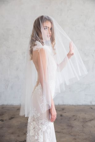 Raw-Edge Silk Tulle Fingertip Veil with Blusher