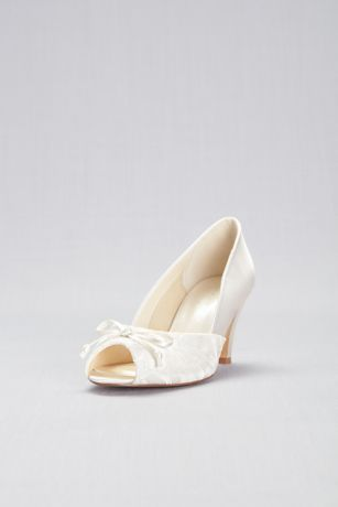 Pink Paradox Ivory Peep Toe Shoes (Lace and Satin Peep-Toe Wide Width Pumps with Bow)