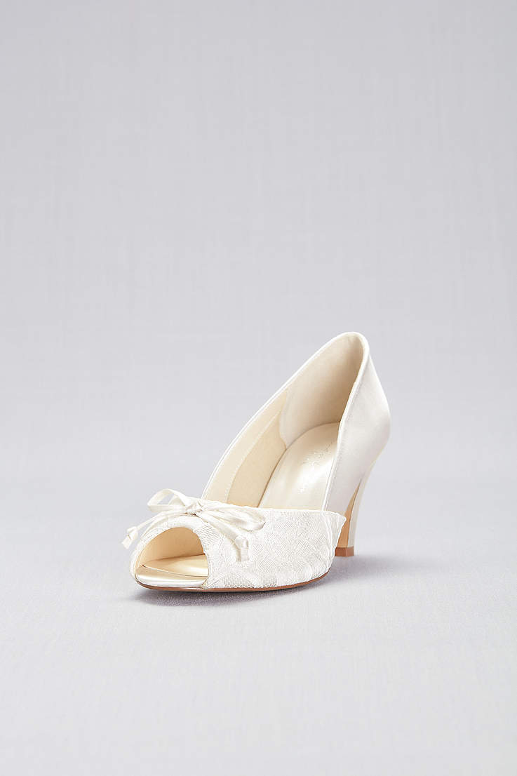 Pink Paradox Ivory Peep Toe Shoes (Lace and Satin Peep-Toe Wide Width Pumps bd02006585e9
