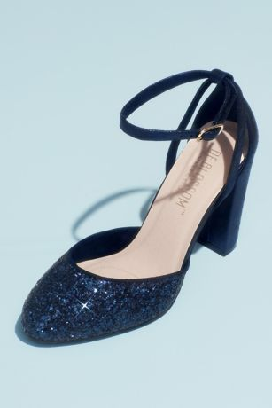 "Blossom Black;Blue;Red Pumps (Glitter D""Orsay Ankle Strap Cutout Block Heels)"