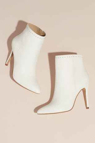 Charles By Charles David White Boots (Mini Stud High-Heel Ankle Booties)