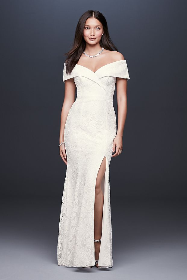 Cuffed Off-the-Shoulder Lace Sheath Gown with Slit